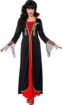 Femme Long Traditionnel Reine Vampire Halloween Déguisement Costume Tenue