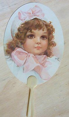 VINTAGE PAPER FAN GREETING CARD GIRL VICTORIAN  INSPIRED