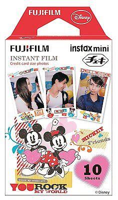 10 Fuji Instax Mini 8 Film Mickey for Share SP-2 /Instax Mini 25/50s/90 Fujifilm