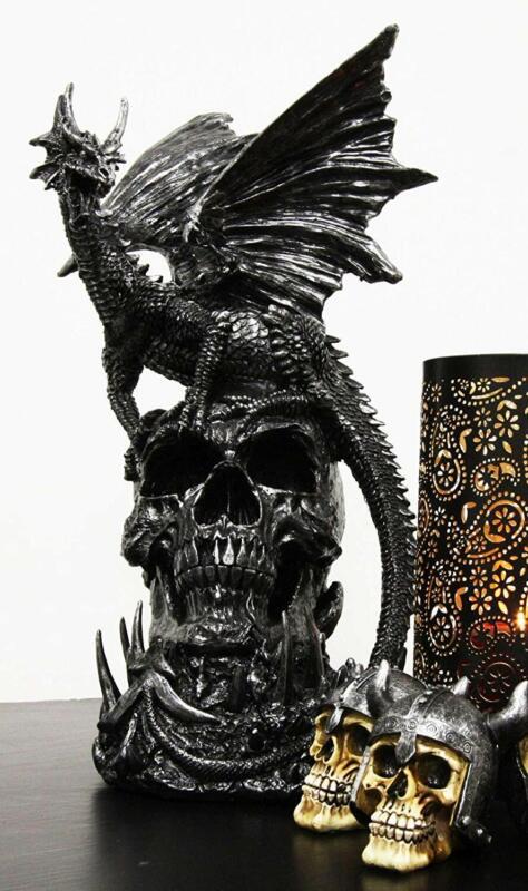 Large Gothic Guardian Behemoth Winged Dragon Standing On Graveyard Skull Statue
