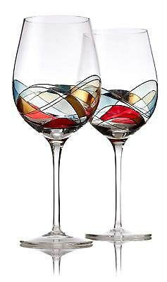 Red Wine Glasses Set of 2 - Unexcelled Hand Painted Wine Glasses - 28oz Large Size