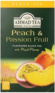 New ! 20 Foil Tea bags Ahmad Tea Peach and Passion Fruit Black Tea