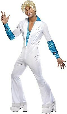 Herren Blau Super Trooper 70er Jahre Pop Star Kostüm Kleid Outfit Stag M - 70er Jahre Pop Stars Kostüm