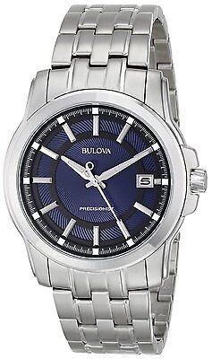 Bulova Precisionist Men's 96B159 Quartz Black and Blue Dial 41mm Bracelet Watch