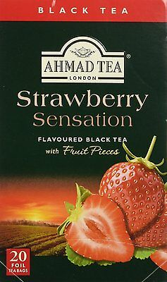 Used, 20 Foil Tea bags Ahmad Tea Strawberry Sensation  Black Tea Clearance exp 4/14/19 for sale  Linden