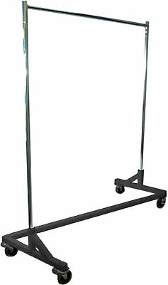 5 Foot Adjustable Height Commercial Single-rail Rolling Z Rack Chrome Black