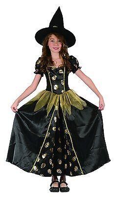Hexenkönigin - elegantes komplettes Hexenkostüm Kinder Halloween Mädchen Hexe