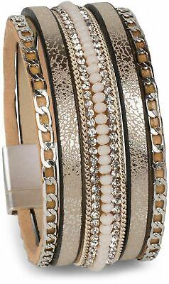 styleBREAKER Armband Damenschmuck Strass Vintage Magnetverschluss beige 20 cm