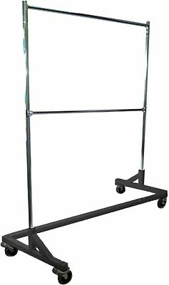 5 Foot Adjustable Height Commercial Double-rail Rolling Z Rack Chrome Black