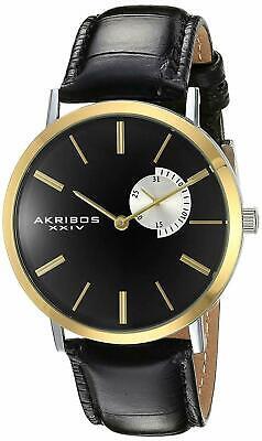 New Men's Akribos XXIV AK848SSB Classic Date Subdial Black Leather Strap Watch