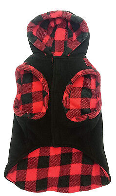 OUTDOOR DOG TOGGLE PLAID TRIM DOG COAT BLACK WITH RED SIZES XS & SMALL  NEW (Dog Toggle)