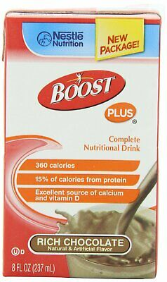 Boost Plus Oral Supplement, Rich Chocolate Flavor, 8 oz Carton, Case of 27