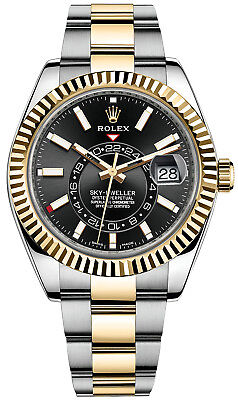 Rolex Sky Dweller Two-Tone Oyster 42mm Black Dial Fluted Bezel Dual Time 326933