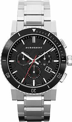 Burberry Black Dial Chronograph Silver Stainless Steel Men's Watch BU9380