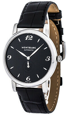 Montblanc Star Classique Black Leather Automatic Men's Watch 107072 New in Box