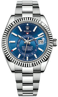 Rolex Sky Dweller Stainless Steel Blue Face White Gold Fluted Bezel 42mm 326934
