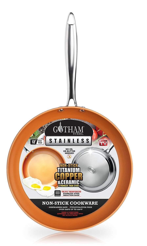 """Gotham Steel Stainless Steel Premium 12"""" Frying Pan, Tripl"""