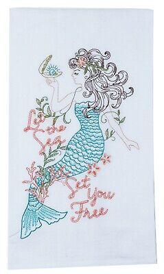 Kay Dee Let Sea Set You Free Mermaid Embroidered Flour Sack