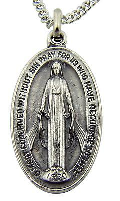 Silver Toned Base Oval Virgin Mother Mary Madonna Miraculous Medal, 1 1/2 - Madonna Medal