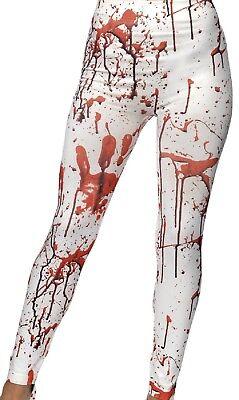 Damen Weiß Rot Blutig Verspritzt Horror Leggings Kostüm Kleid Outfit