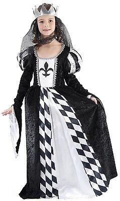 Mädchen Mittelalterlich Schach Königin Alice Im Wunderland Kostüm Kleid Outfit (Schwarz Alice Im Wunderland Kleid)