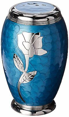 ADULT BLUE CREMATION URNS, LARGE NEW FUNERAL URN FOR HUMAN ASHES, ROSE