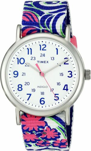 Timex Womens TW2P90200 Weekender 38mm White Dial Nylon Watch