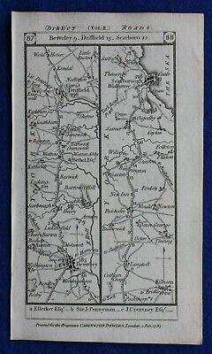 Original antique road map BEVERLEY, SCARBOROUGH, LONDON, HERTFORD, Paterson 1785