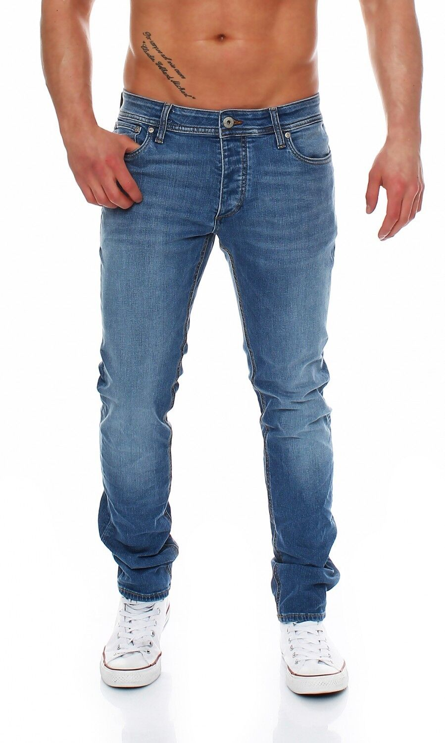 cbff7825bb55e0 JACK and JONES - TIM ORIGINAL - AM420 Mittelblau - Herren Jeans Hose Slim  Fit