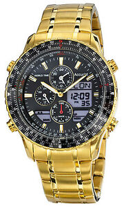 Accurist Mens Gents Worldtimer Gold Plated Steel Bracelet Watch MB1030B RRP £350