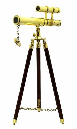TELESCOPE Double Barrel Brass Antique Marine With Tripod Nautical Vintage Gift