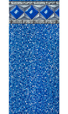 "24'x54"" Ft Round Unibead Crystal Tile Above Ground Swimming Pool Liner-25 Gauge"
