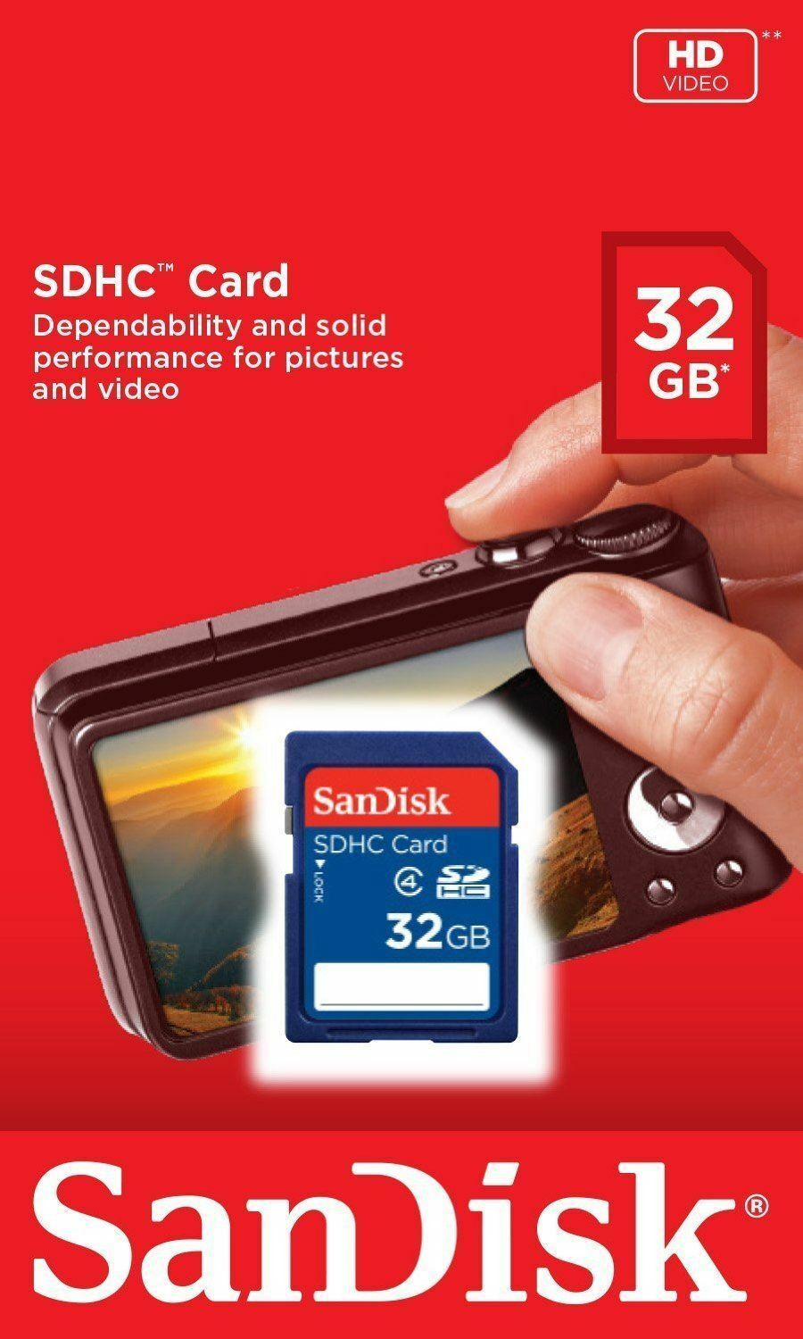 New SanDisk 32GB SD SDHC Class 4 Camera Flash Memory Card 32