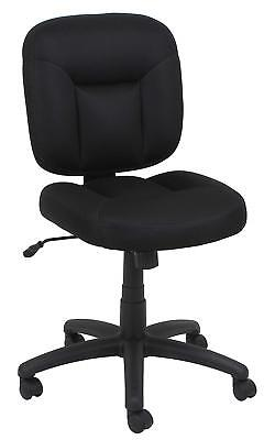 Armless Office Task Chair In Black Stain-resistant Fabric And Lumbar Support