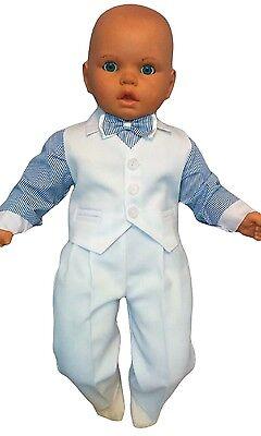 Taufanzug Baby Junge Kinder Hochzeit Anzüge Festanzug 4tlg  Weiß-Blau K5A ()