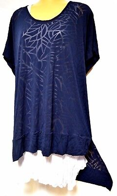 TS top TAKING SHAPE plus sz XS / 14 Into The Blue Top stretch light sheer NWT!