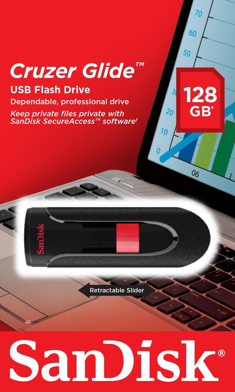 SanDisk Cruzer Glide CZ60 128GB USB 2.0 Flash Drive- SDCZ60-