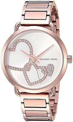 NWT Michael Kors MK3825 Portia Rose Gold-Tone Bracelet Women's Watch $225