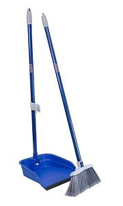 Quickie Broom and Dustpan Combo Set Stand and Store Lobby Angled, Blue