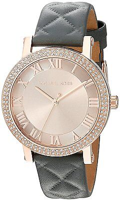 Michael Kors Women's MK2619 Norie Rose Gold Tone Dial Gray Quilted Leather Watch