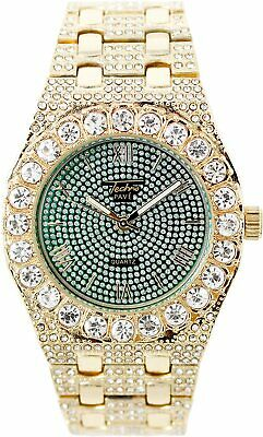 Men Ice Watch Bling Rapper Simulate Diamond Band Hip Luxury Cubic Gold GREEN