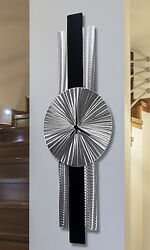 Abstract Black & Silver Metal Wall Clock Sculpture - Infinite Orbit by Jon Allen