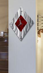Statements2000 Metal Wall Clock Art Abstract Modern Silver Red Decor Jon Allen