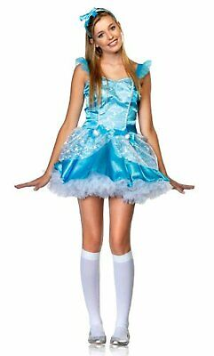 Fairy Tale Princess Blue Cinderella Cute Fancy Dress Up Halloween Teen Costume