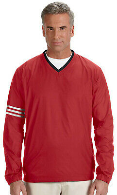 NEW Mens Adidas ClimaProof V-Neck Golf Athletic wind Pullover shirt Red/black