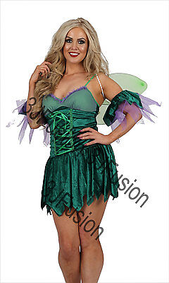 Women Adult GREEN Woodland Fairy Pixie Costume Outfit with FREE wings & POST - Woodland Fairy Wings