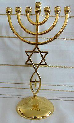 "Messianic Israel Jewish Star of David 7Branch GOLD Jerusalem Temple Menorah 8.5"""