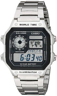 Casio Men's Quartz Multifunction Silver-Tone Bracelet 42mm Watch AE1200WHD-1A