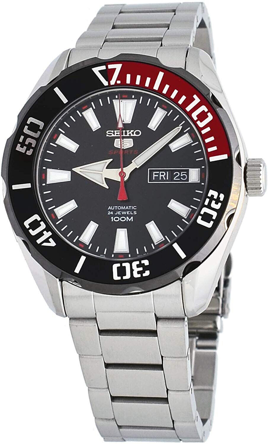 Seiko 5 Sports SRPC57 Men's Black Red Bezel Black Dial 100M