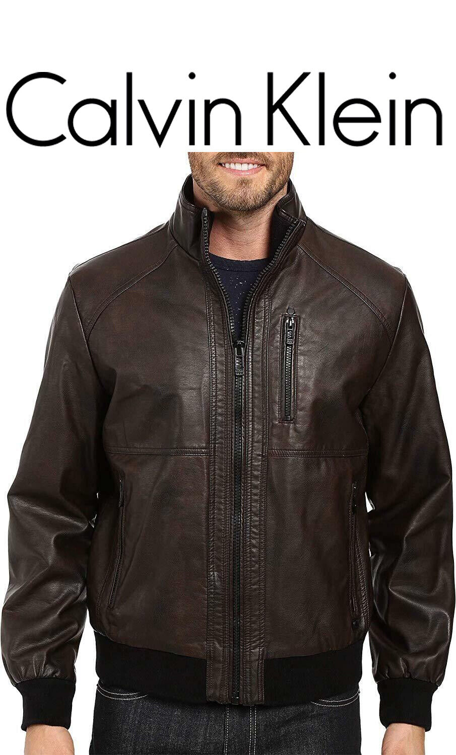 Calvin Klein Faux Leather jacket Perforated Bomber Heritage